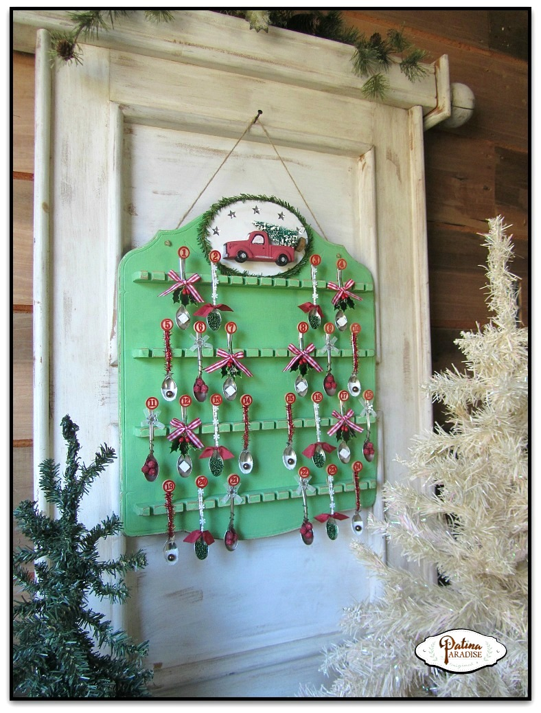 Spoon rack Christmas advent calendar, by Patina Paradise, featured on Funky Junk Interiors