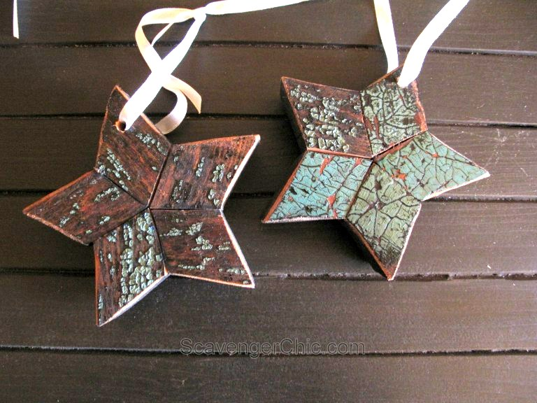 Reclaimed wood Christmas stars, By Scavenger Chic, featured on Funky Junk Interiors