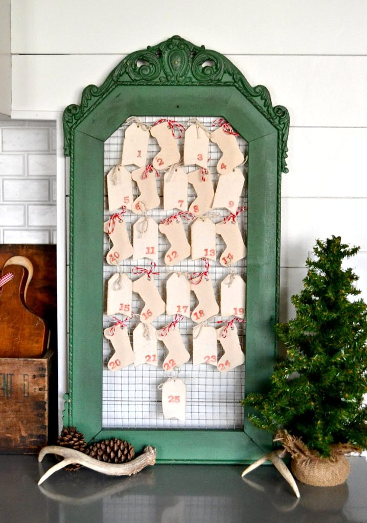 Curb side frame DIY Advent Calendar, by My Creative Days, featured on Funky Junk Interiors