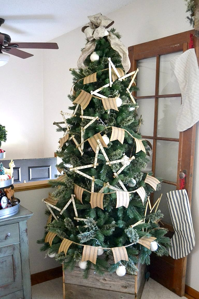 DIY jute webbing garland on a farmhouse Christmas tree in a crate, by My Creative Days, featured on Funky Junk Interiors