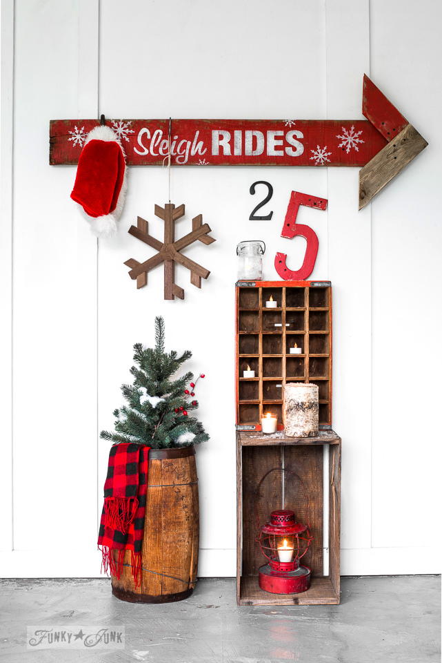 How to turn a plank into a Sleigh Rides Arrow sign, by funkyjunkinteriors.net