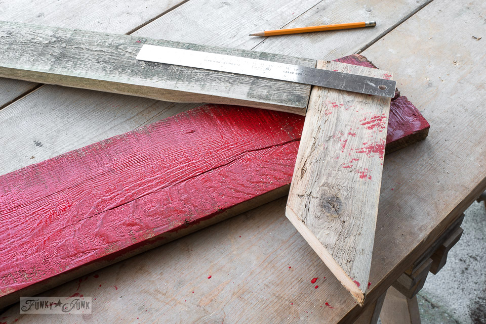 How to make a super easy reclaimed wood arrow tip for a sign board | funkyjunkinteriors.net