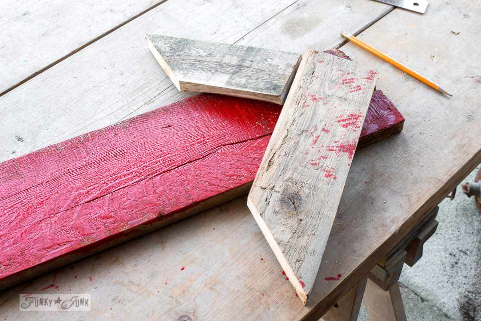 How to make a super easy reclaimed wood arrow tip for a sign board   funkyjunkinteriors.net