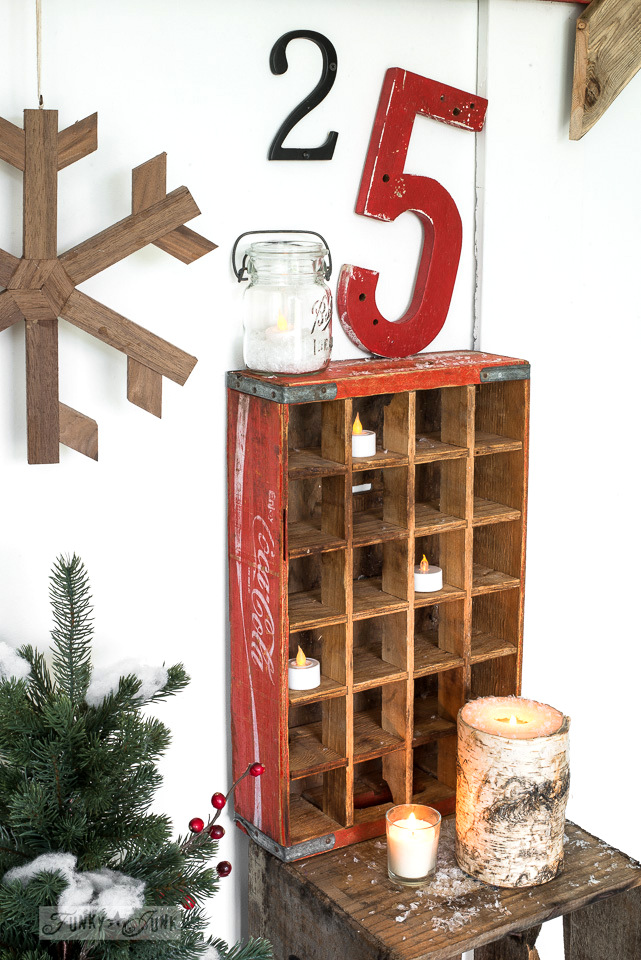 Vintage coke crate battery operated candle cubby and house numbers 25 for Christmas decorating | funkyjunkinteriors.net