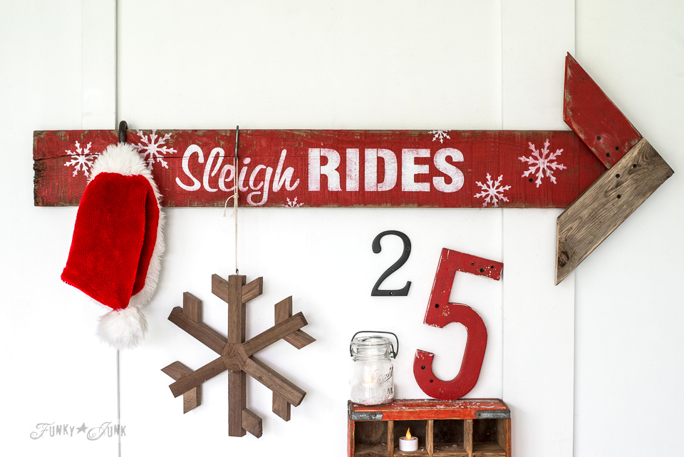 Reclaimed wood Christmas Sleigh Rides arrow sign, made with Funky Junk's Old Sign Stencils and Fusion Mineral Paint | funkyjunkinteriors.net