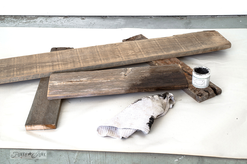 Waxing planks to darken them, with Miss Mustard Seed's Antique Wax | funkyjunkinteriors.net