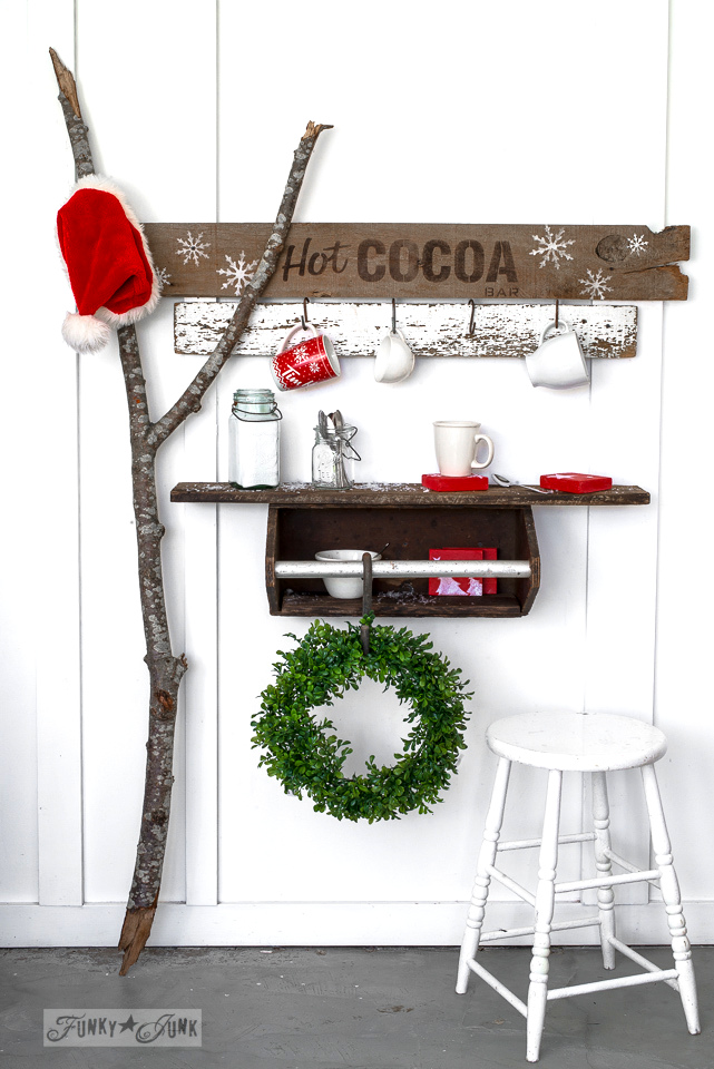 Toolbox shelf for a hot cocoa bar for Christmas, made with Funky Junk's Old Sign Stencils | funkyjunkinteriors.net
