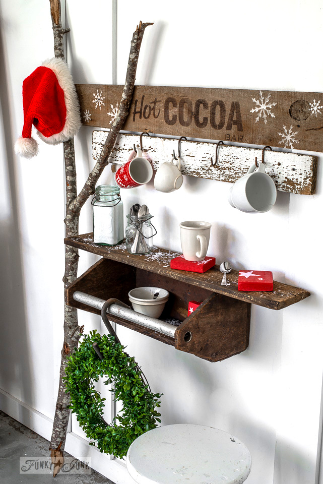 Toolbox shelf for a hot cocoa bar station and sign for Christmas, made with Funky Junk's Old Sign Stencils and Fusion Mineral Paint | funkyjunkinteriors.net