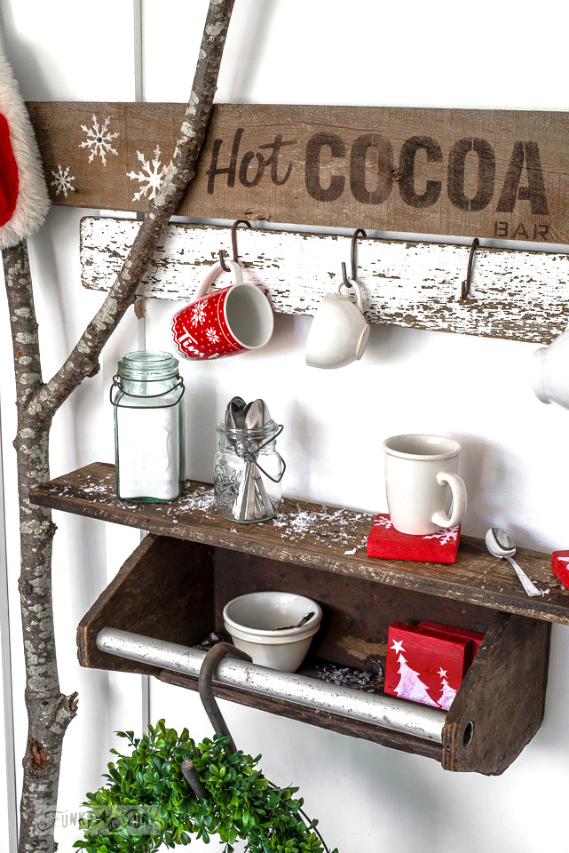 Toolbox shelf hot cocoa bar, with red festive reclaimed wood coffee coasters | funkyjunkinteriors.net