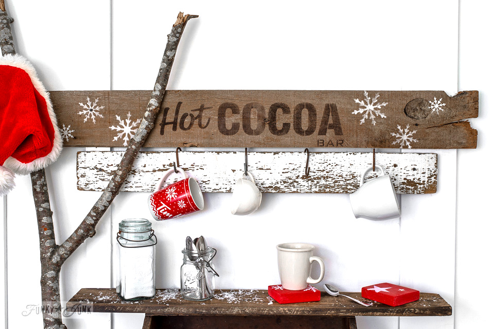 Toolbox shelf for a hot cocoa bar station and sign for Christmas, made with Funky Junk's Old Sign Stencils | funkyjunkinteriors.net