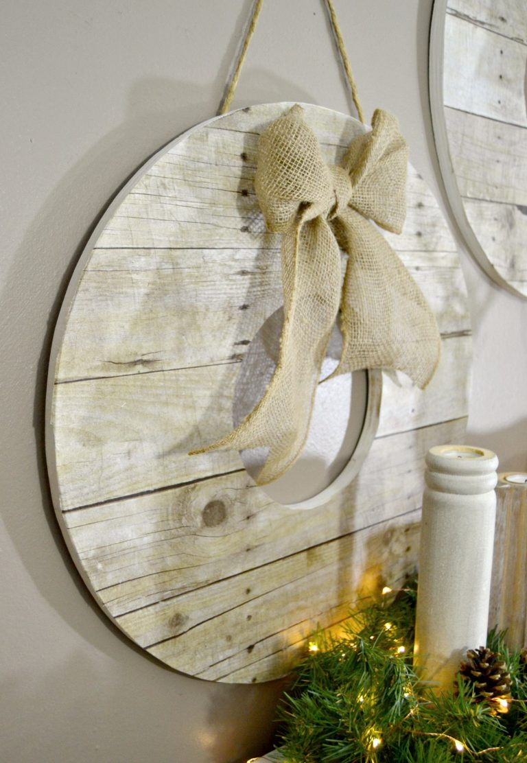 Faux reclaimed wood wreaths, by My Creative Days, featured on Funky Junk Interiors
