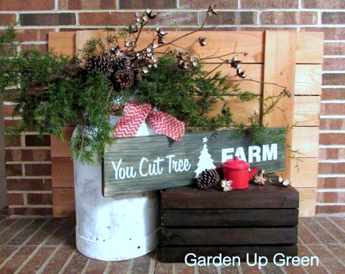You Cut Tree Christmas sign and vignette, made with Old Sign Stencils, by Garden Up Green, featured on Funky Junk Interiors