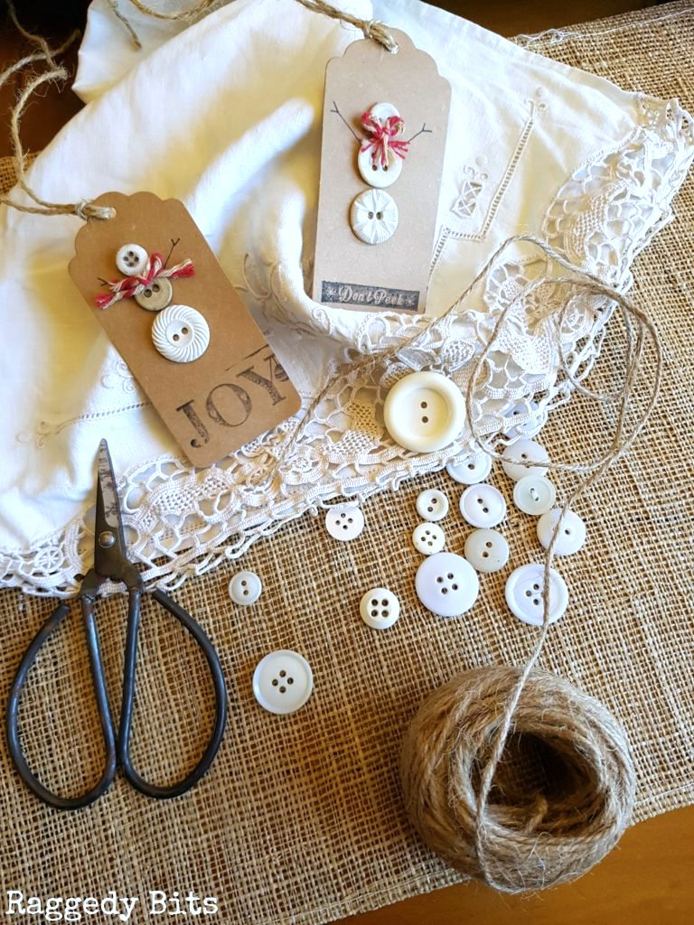 Vintage button snowman Christmas gift tags, by Raggedy Bits, featured on Funky Junk Interiors