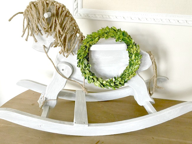 Revamped rocking horse makeover with twine mane, by Homeroad, featured on Funky Junk Interiors