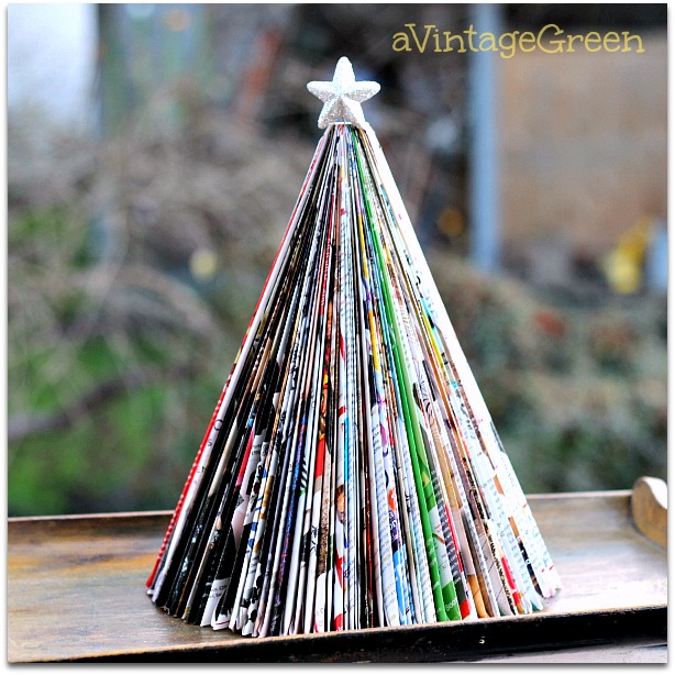 Folded magazine Christmas tree, by A Vintage Green, featured on Funky Junk Interiors