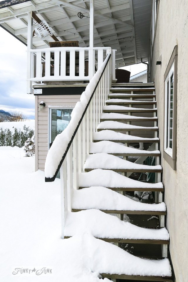 Snow day on the patio stairway