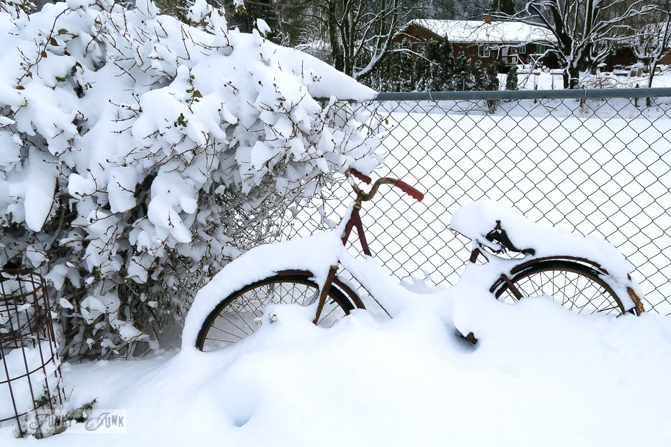 Bike in the garden buried in snow | funkyjunkinteriors.net