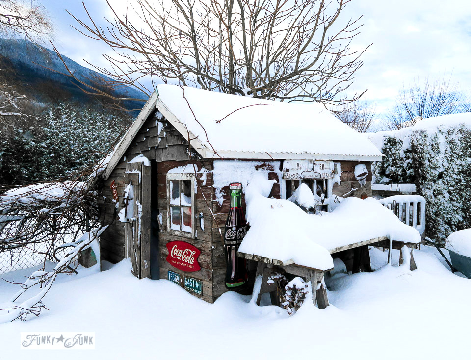 Rustic shed caught in the snow | funkyjunkinteriors.net