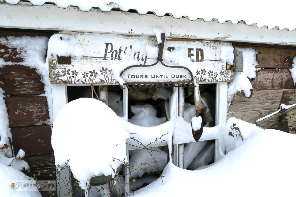 Potting shed sign caught in the snow | funkyjunkinteriors.net