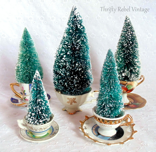 Teacup Christmas trees, by Thrifty Rebel Vintage, featured on Funky Junk Interiors