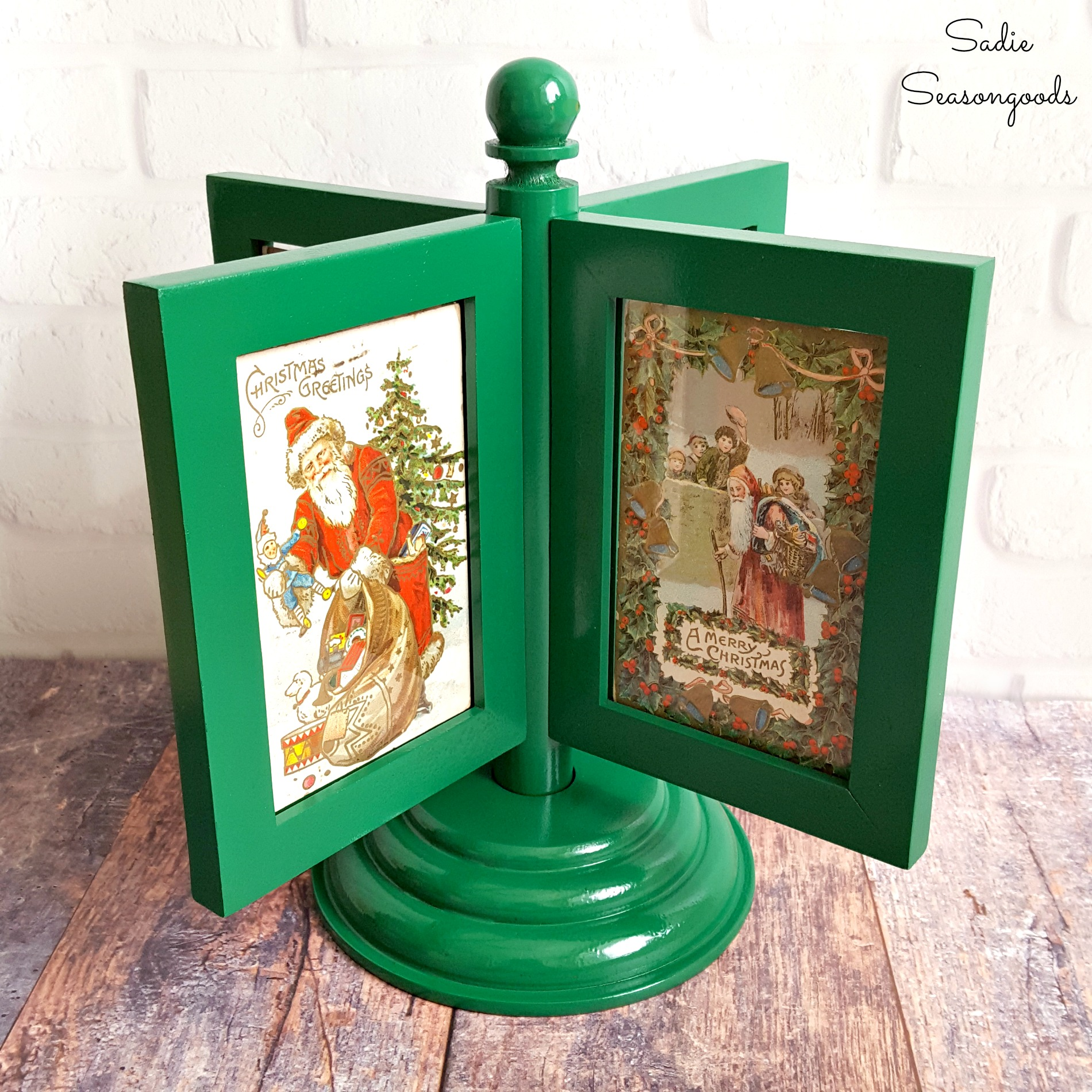 Vintage Christmas card picture carousel, by Sadie Seasongoods, featured on Funky Junk Interiors