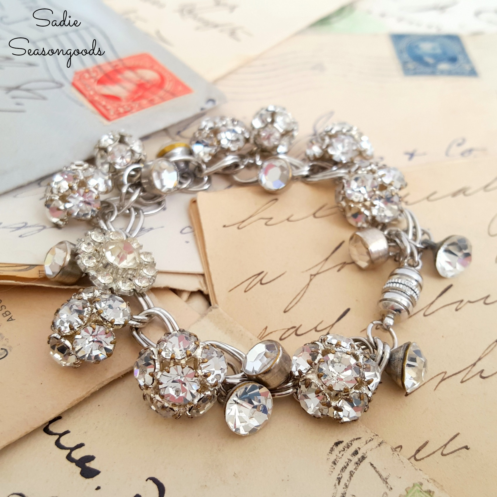 Vintage button rhinestone bracelet, by Sadie Seasongoods, featured on Funky Junk Interiors