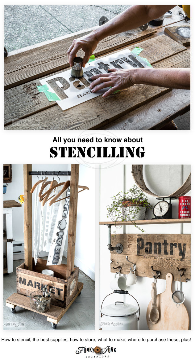 All you need to know about stencilling - how to stencil, the best supplies, how to store, what to make, where to buy, plus! Featuring Old Sign Stencils at funkyjunkinteriors.net