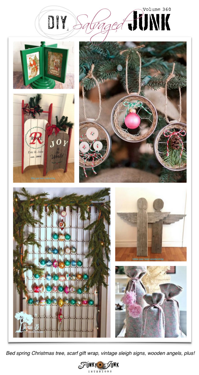 DIY Salvaged Projects 360 - features and a junk themed link party on funkyjunkinteriors.net