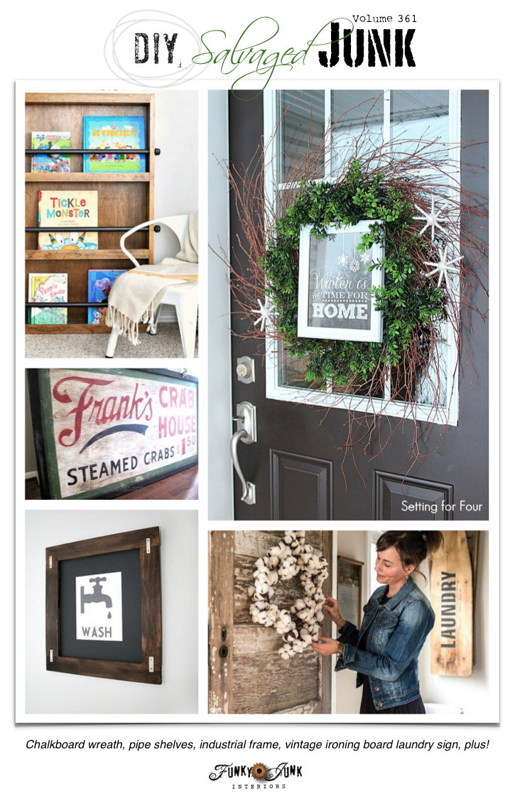 DIY Salvaged Junk Projects 361 | upcycled features with a themed repurposed theme party on funkyjunkinteriors.net