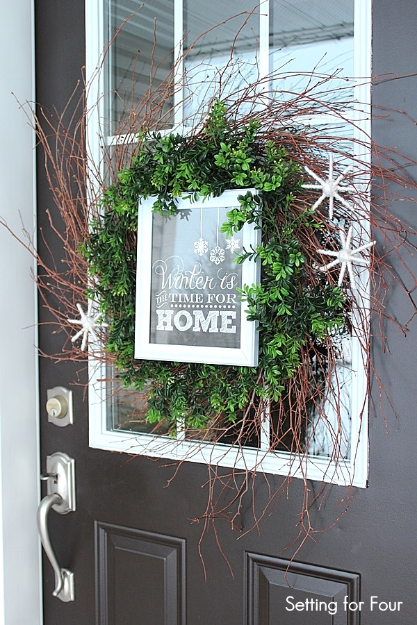 Framed chalkboard printable layered winter wreath, by Setting for Four, Funky Junk Interiors