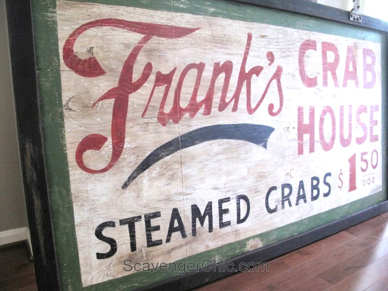 DIY vintage styled Crab House sign, by Scavenger Chic, featured on Funky Junk Interiors
