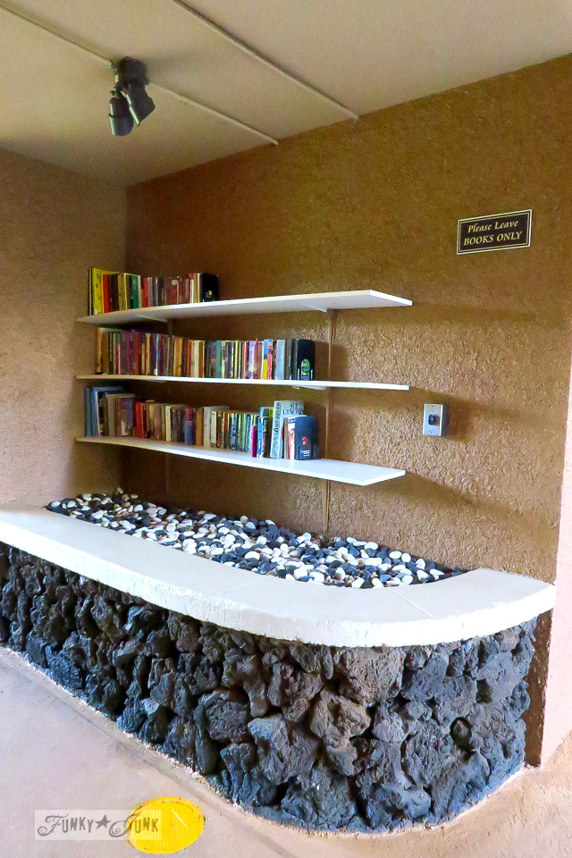 Poolside library at Maui Vista in Kihei | funkyjunkinteriors.net