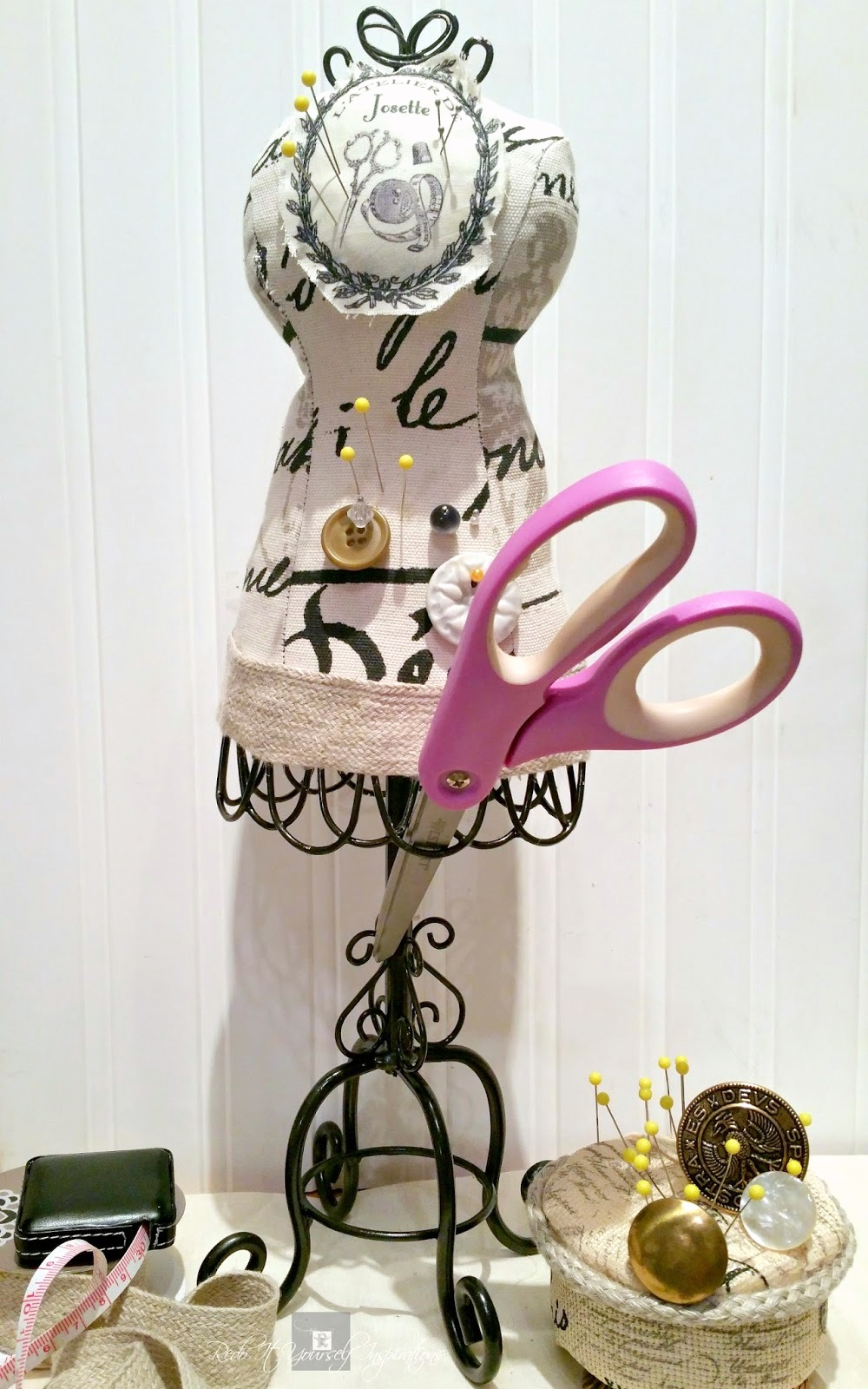 Repurposed dress form jewellery stand into pin cushion, by Do It Yourself Inspirations, featured on Funky Junk Interiors