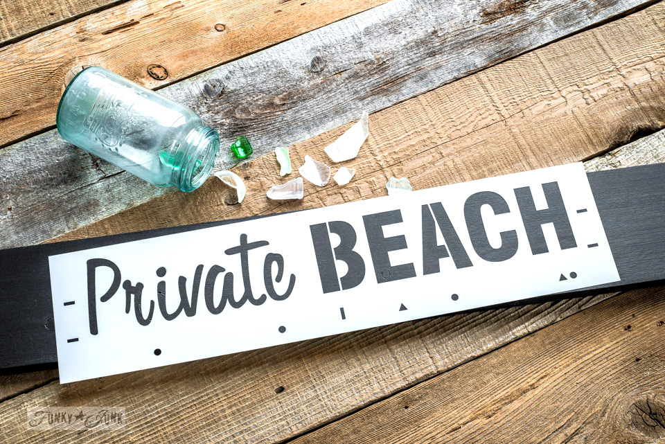 Private Beach | part of Funky Junk's Old Sign Stencils funkyjunkinteriors.net