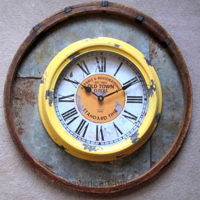 Recycled barrel hoop wall clock, by Scavenger Chic, featured on Funky Junk Interiors