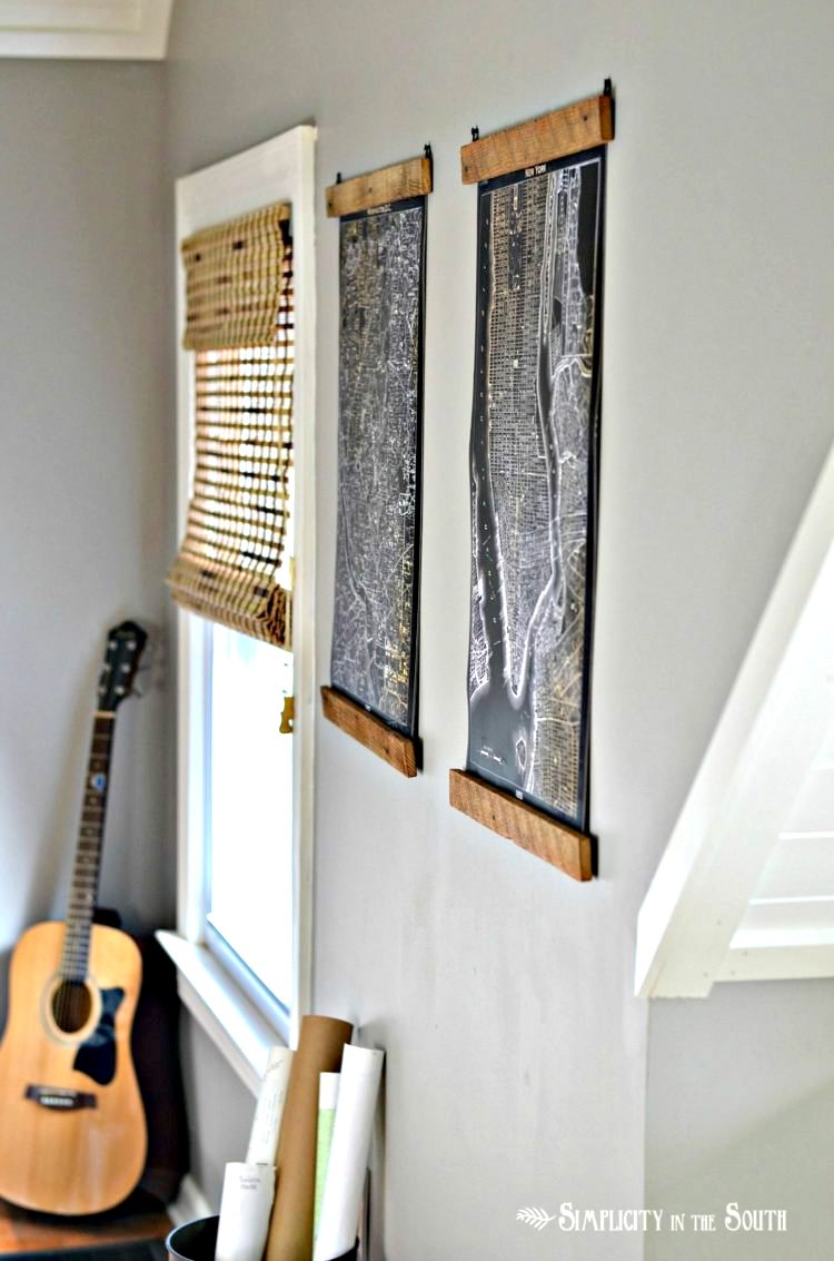 Wood strip poster hangers, by Simplicity in the South, featured on Funky Junk Interiors