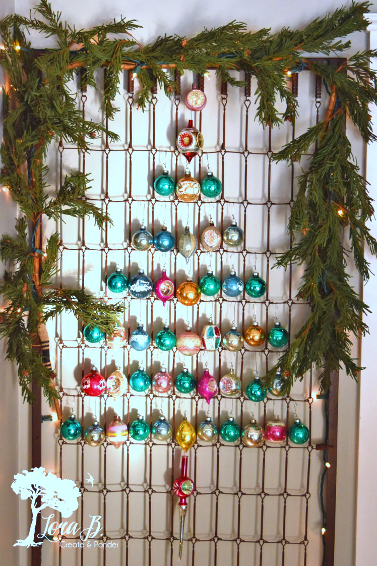 Bedspring Shiny Brite Christmas tree, by Lora B, featured on Funky Junk Interiors