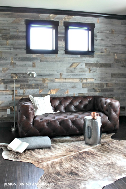 Stikwood reclaimed wood wall, by Designing, Dining and Diapers, featured on Funky Junk Interiors