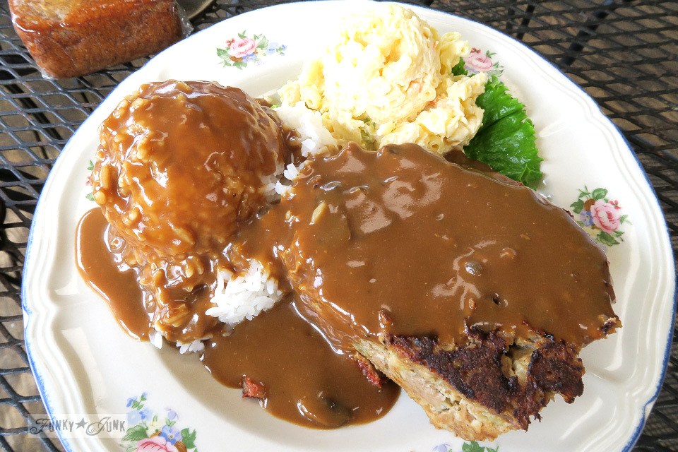 Homemade meatloaf from Grandma's Coffee House on the backroad to Hana, Maui | funkyjunkinteriors.net