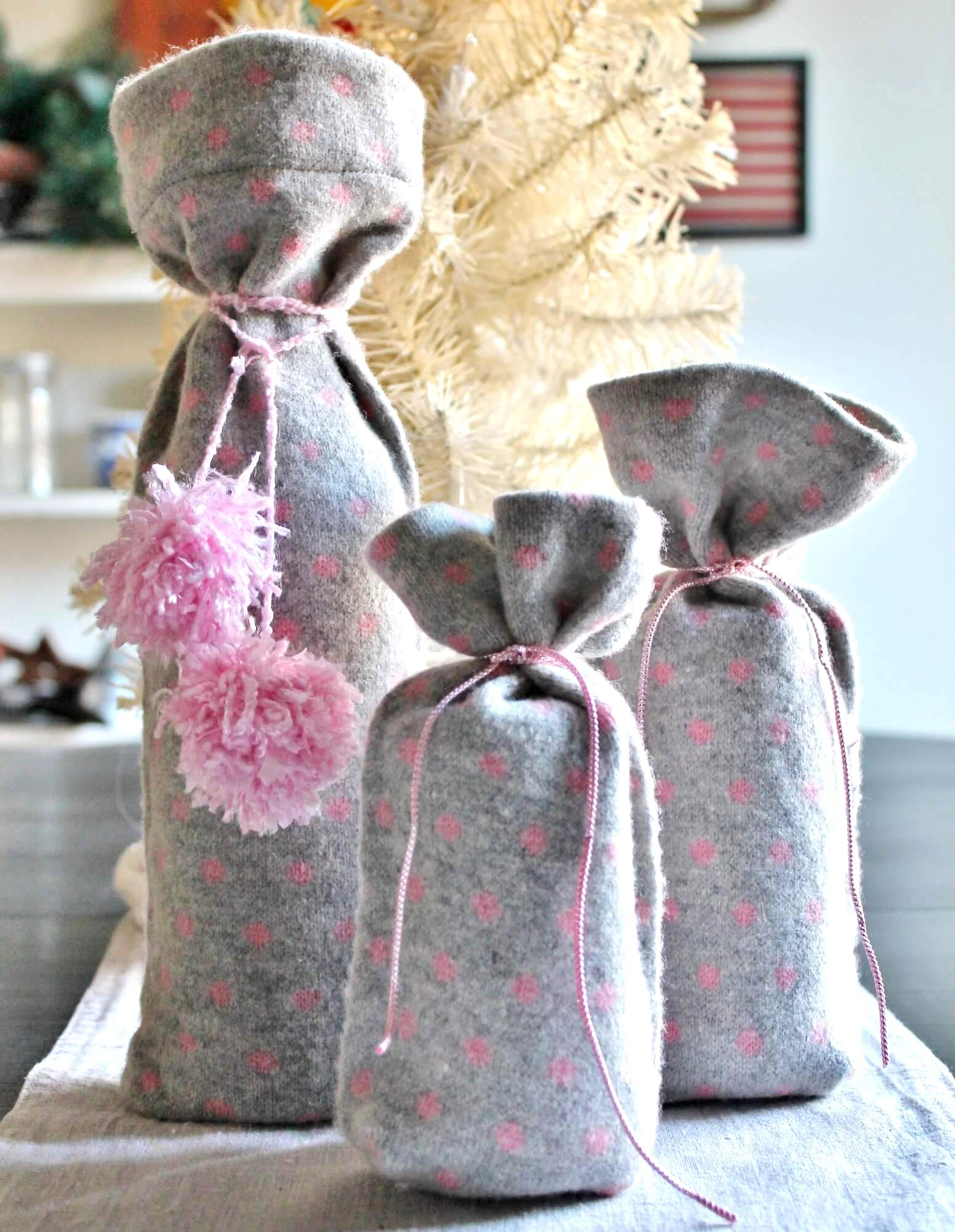 Thrifted scarf gift wrap, by Adirondack Girl at Heart, featured on Funky Junk Interiors