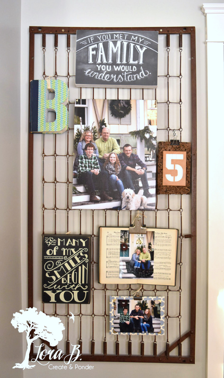 Bed spring wall art bulletin board, by Lora B, featured on Funky Junk Interiors