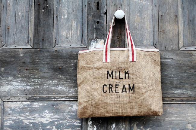 The Milk and Cream Co. burlap tote bag, by Knick of Time, featured on Funky Junk Interiors