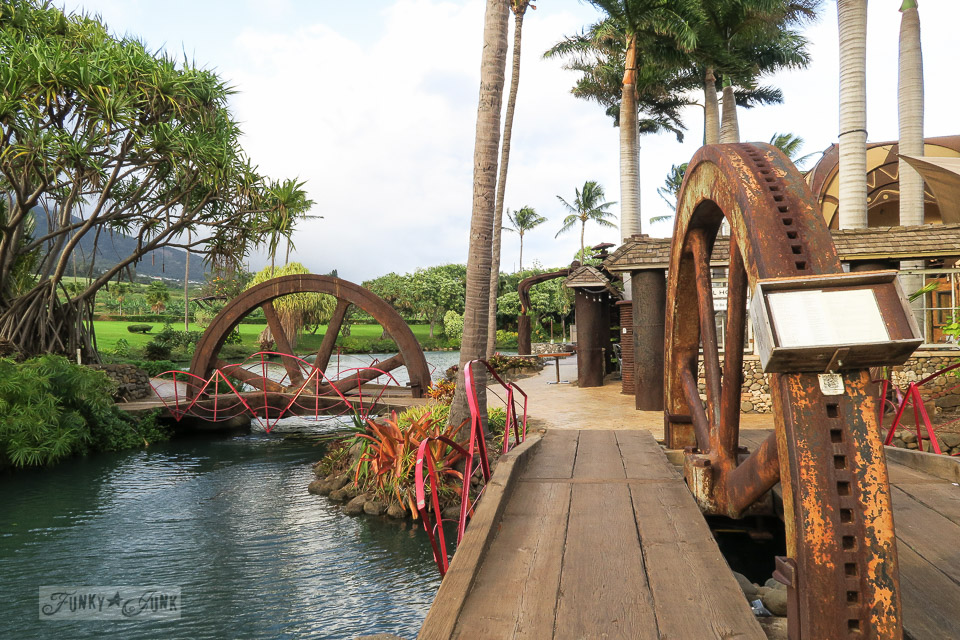Rusty gear bridges at The Mill House in Maui. A dream restaurant for junkers, plus, located at The Maui Tropical Plantation. | funkyjunkinteriors.net