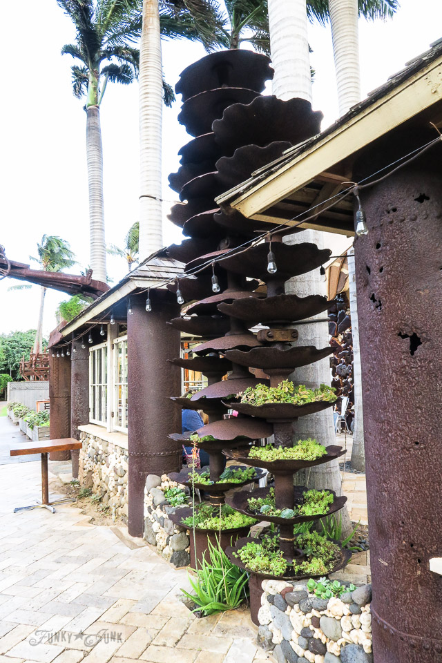 Repurposed blade planters at The Mill House in Maui. A dream restaurant for junkers, plus, located at The Maui Tropical Plantation. | funkyjunkinteriors.net