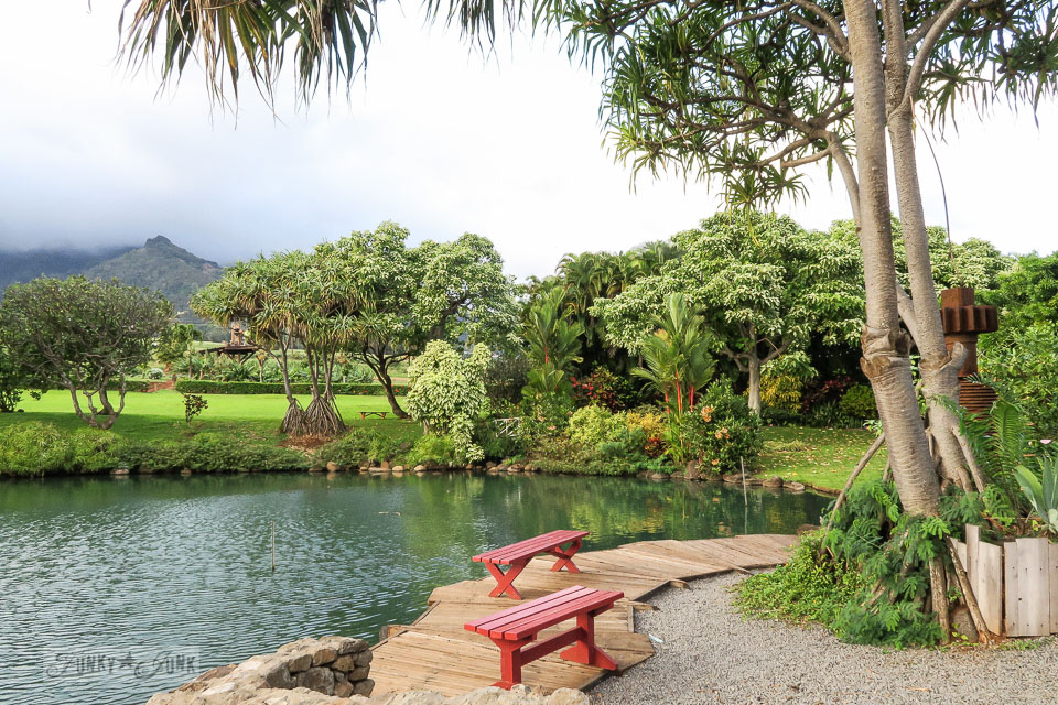 Gorgeous palm tree, pond and mountain view scenery at The Mill House in Maui. A dream restaurant for junkers, plus, located at The Maui Tropical Plantation. | funkyjunkinteriors.net