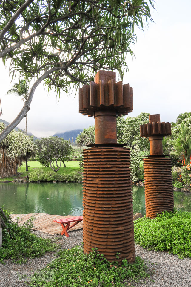 Rusty gear sculptures at The Mill House in Maui. A dream restaurant for junkers, plus, located at The Maui Tropical Plantation. | funkyjunkinteriors.net