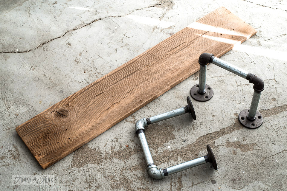 Pipes and board plank to make an industrially rustic coffee station... easy! | funkyjunkinteriors.net