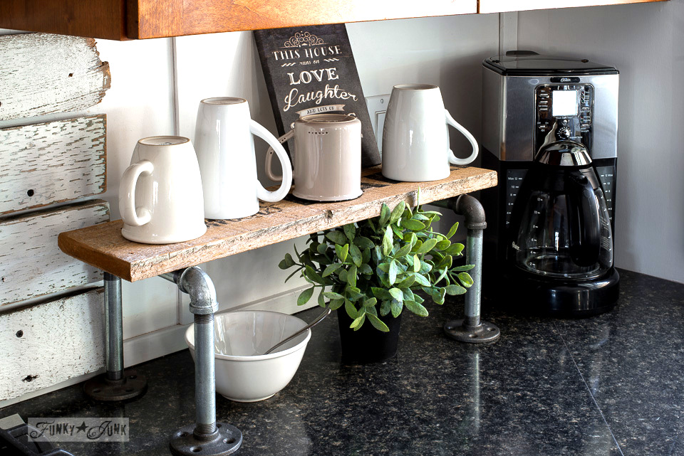 Industrial pipe and reclaimed wood mini coffee station, using Old Sign Stencils | funkyjunkinteriors.net