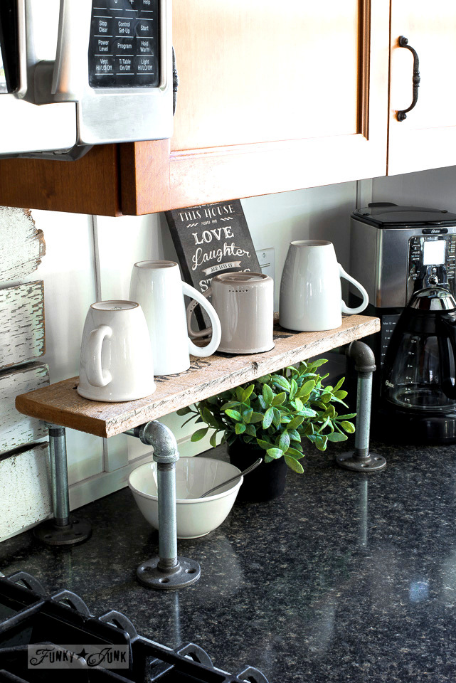 Pipes and reclaimed wood mini coffee station shelf, by funkyjunkinteriors.net