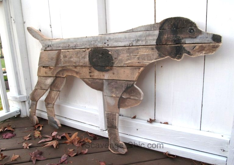 Pallet wood dog wall art, by Scavenger Chic, featured on Funky Junk Interiors